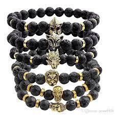 black bead skull bracelet images 2018 black beads natural stones skull bracelet for women lava jpg