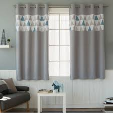 Turquoise And Grey Curtains Triangles Patterned Blackout Curtains Grey Grommet Pair