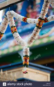 hindu garland flower garland outside hindu temple in india stock photo royalty