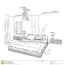 dessin chambre dessin intérieur moderne de chambre à coucher illustration de