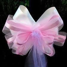 pew bows 6 large 10 pink white tulle pew bows wedding church baptism