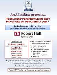 Robert Half Resume Aaa Institute Presents Recruiter U0027s Perspective On Obtaining A Job