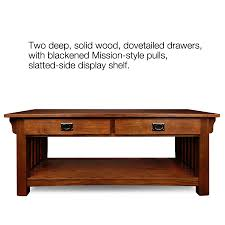 Oak Sofa Table With Drawers Amazon Com Leick Furniture Mission 2 Drawer Coffee Table Medium