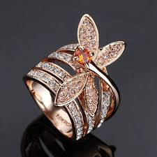small fashion rings images 2016 new cute small dragonfly ring rose gold color rhinestone jpg