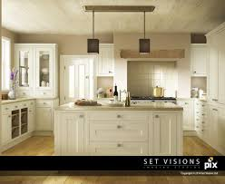 white kitchen with island cream shaker cgi kitchen with island room set by set visions 3d