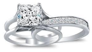 bridal set rings solid 925 sterling silver bridal set princess cut