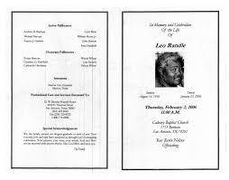 a funeral program funeral program for leo randle february 2 2006 page 3 of 3