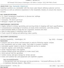 Resume Template For Bartender Extraordinary Bartender Resume Sle 11 Bartender Resume Sles