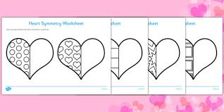 valentine u0027s heart symmetry worksheets symmetry sheets