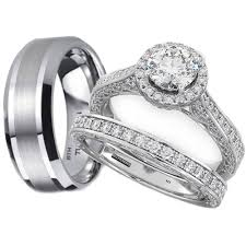 his and hers engagement rings his and hers tungsten 925 sterling silver wedding engagement ring set
