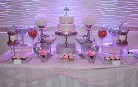 Candy Buffet Table Ideas Pink And White Communion Candy Buffet Table Candy Bars
