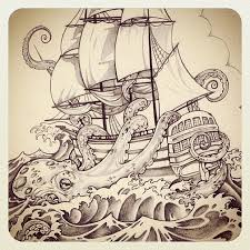 ship sea monster tattoo design real photo pictures images and