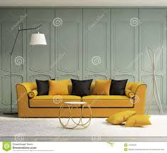 yellow sofa in fresh interior living room stock image image