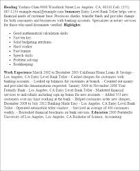 Sample Resume For Teller by Wonderful Sample Resume For Bank Teller At Entry Level 27 In