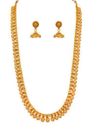 long ethnic necklace images Jfl golden traditional ethnic gold plated long necklace set size jpg
