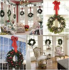 window wreaths decorations lights card and