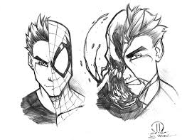 venom spiderman face drawing information