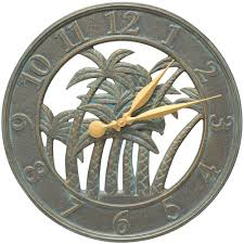 Patio Clock And Thermometer Sets by Outdoor Clock Palm Tree In Outdoor Clocks