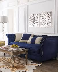 navy blue velvet sofa haute house horton navy velvet sofa neiman marcus