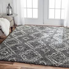 Gray Shag Area Rug Nuloom Alexa My Soft And Plush Moroccan Trellis White Grey Easy