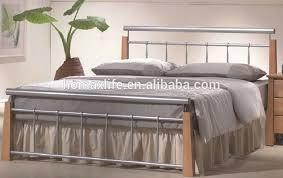 cheapest single metal bed frame with wood leg from factory view