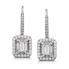 white gold drop earrings diamond halo drop earrings 14k white gold 1 ct tw