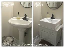 2perfection decor antique wash basin stand into vanity makeover