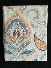 Cynthia Rowley Drapery Cynthia Rowley Ischia Tan Aqua Orange Blue Paisley Fabric Shower