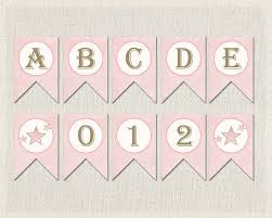 printable alphabet bunting banner whole alphabet banner pink gold baby shower banner bunting happy