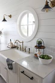 tough as tile sink and tile finish shiplap kitchen planked walls behind sink stove the inspired room