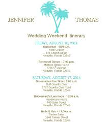 wedding itinerary template for guests wedding itinerary exles images