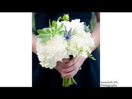 go flowers what colors for a wedding go well with blue bridesmaid dresses