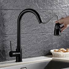 mitigeur noir cuisine 360 degrés rotatif moderne pull out cuisine robinet noir en laiton