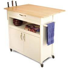 classic campbell rolling kitchen cart with wine rack in white