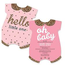 baby shower invites for girl hello one pink and gold baby bodysuits shaped girl baby