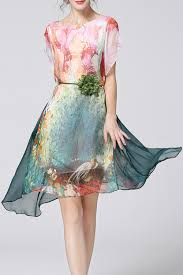 Kyma Restaurants Official Website Order Online Direct Weiguoyue Pink Colorful High Low Print Dress Midi Dresses At Dezzal