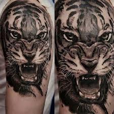 roaring tiger on half sleeve by kory angarita