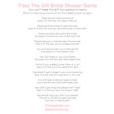 bridal shower gift poems pass the gift bridal shower free printable http chasingayden