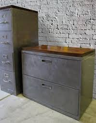 industrial lateral file cabinet refinished 2 drawer letter size metal filing cabinet w wood top