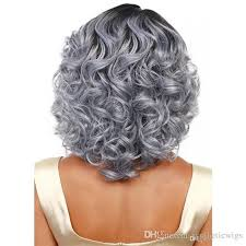 gray hair pieces for american grandmother grey black wig curly short synthetic wigs women hair