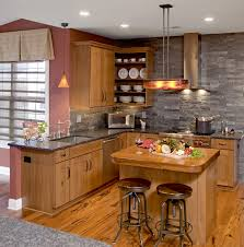 kitchen style open shelves white kitchenware butcher block open shelves white kitchenware butcher block countertop gray stone backsplash wooden eclectic kitchen paneled cabinet