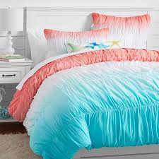 Pb Teen Duvet Surf Dip Dye Ruched Duvet Cover Sham Capri Coral Pbteen