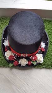 red rose black top hat unisex fancy dress costume womens and mens