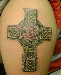 lovely celtic cross with on shoulder