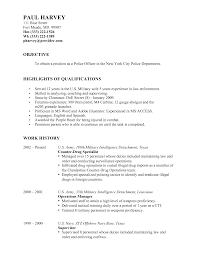 Military Resume Format Remarkable Police Officer Resumes Samples With Resume Objective