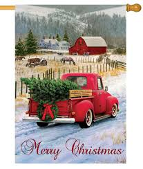 red pickup truck merry christmas farm house flag house flags