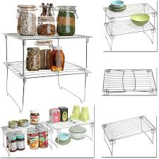 Shelf Organizer by Funky Buys 2pk Stackable Kitchen Cabinet Counter Helper Shelf