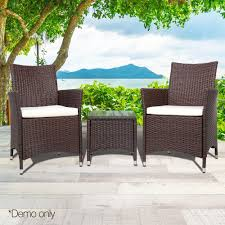 outside chair and table set 3 piece outdoor chair and table set brown ec living