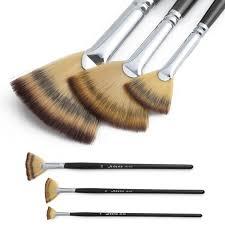 fan brush oil painting 3 size fan brush wooden handle pen set for oil acrylic watercolor