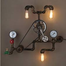 Vintage Industrial Light Fixtures 2018 Loft Style Iron Water Pipe L Edison Wall Sconce Retro Gear